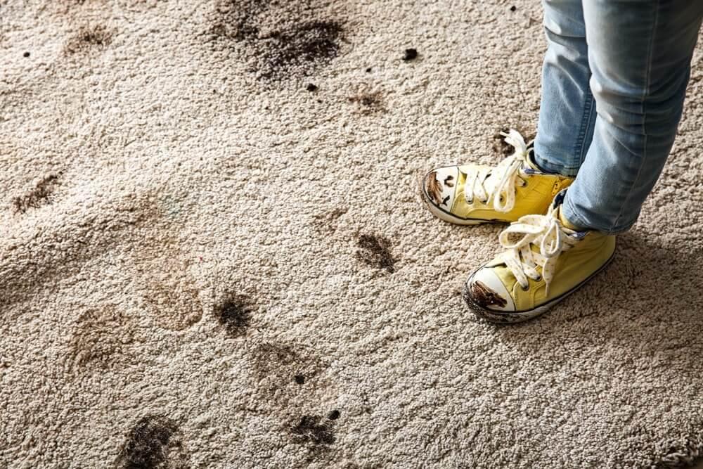 Schlammfleck auf Teppich